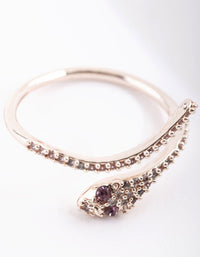 Rose Gold Cubic Zirconia Snake Wrap Ring - link has visual effect only