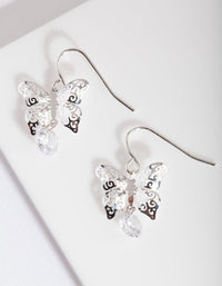 Silver Cubic Zirconia Butterfly Drop Earring - link has visual effect only