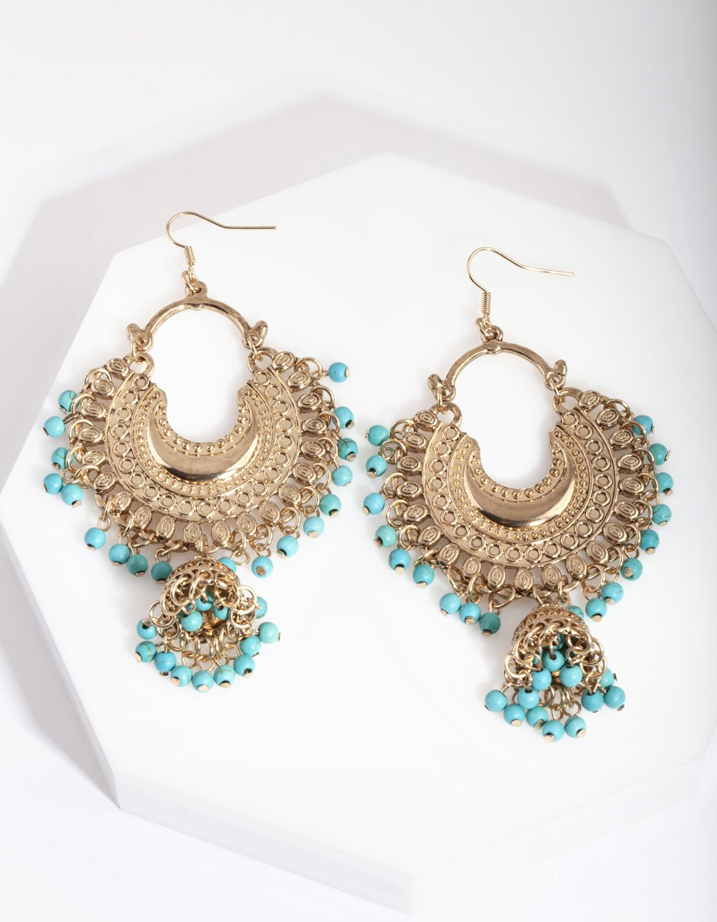 Antique Gold Turquoise Bead Drop Earring
