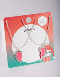 Kids Silver Diamante Pink Heart BF Necklace Set - link has visual effect only