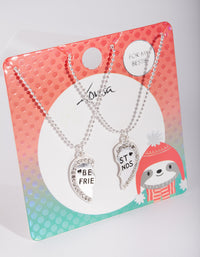 Kids Silver Diamante Heart BF Necklace Set - link has visual effect only
