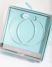 Sterling Silver 50mm Hammered Hoop Earring - link has visual effect only