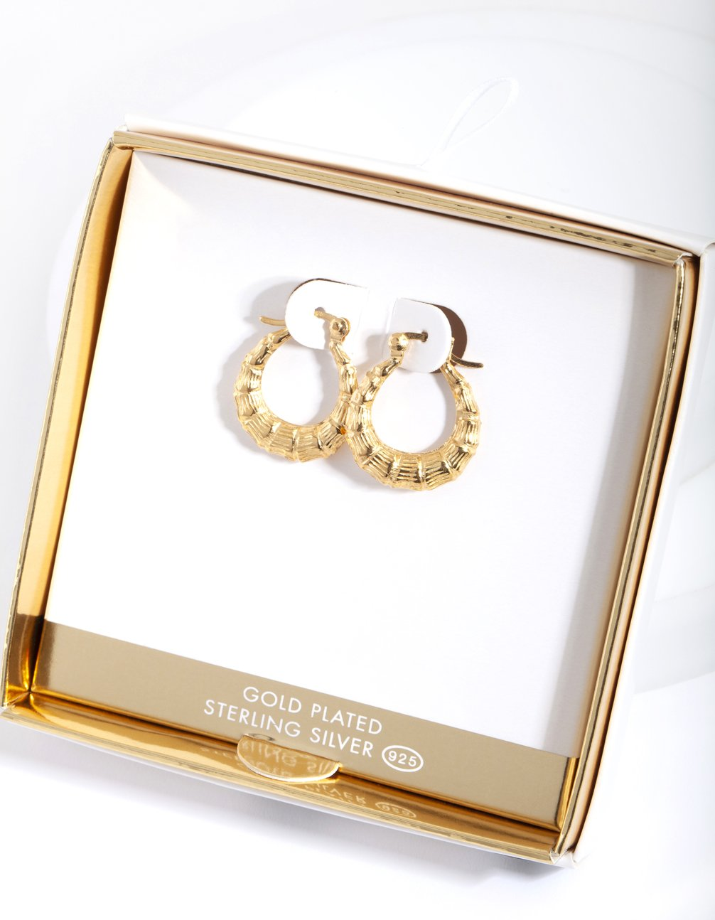 Gold Plated Chunky Bamboo Hoop Earring