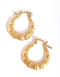 Gold Plated Chunky Bamboo Hoop Earring - link has visual effect only