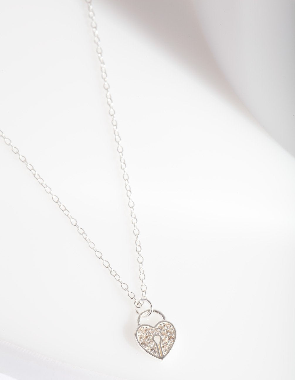 Sterling Silver Pave Heart Padlock Necklace