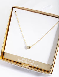 Sterling Silver Gold Plated Solid Heart Necklace - link has visual effect only