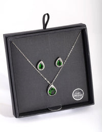 Rhodium Green Cubic Zirconia Teardrop Earring Necklace Set - link has visual effect only