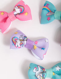 Kids Colourful Unicorn Bow Clip 6 Pack - link has visual effect only