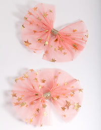 Kids Pink Gold Star Tulle Bow 2 Pack - link has visual effect only