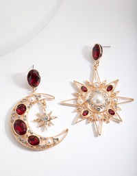 Red Star and Moon Drop Earring - link has visual effect only