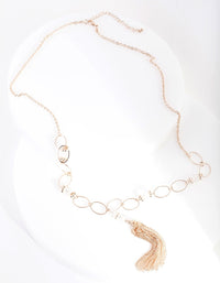 Rose Gold Bead and Tassel Necklace - link has visual effect only