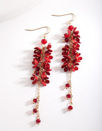 Red Flower Cluster Drop Earrings - link has visual effect only