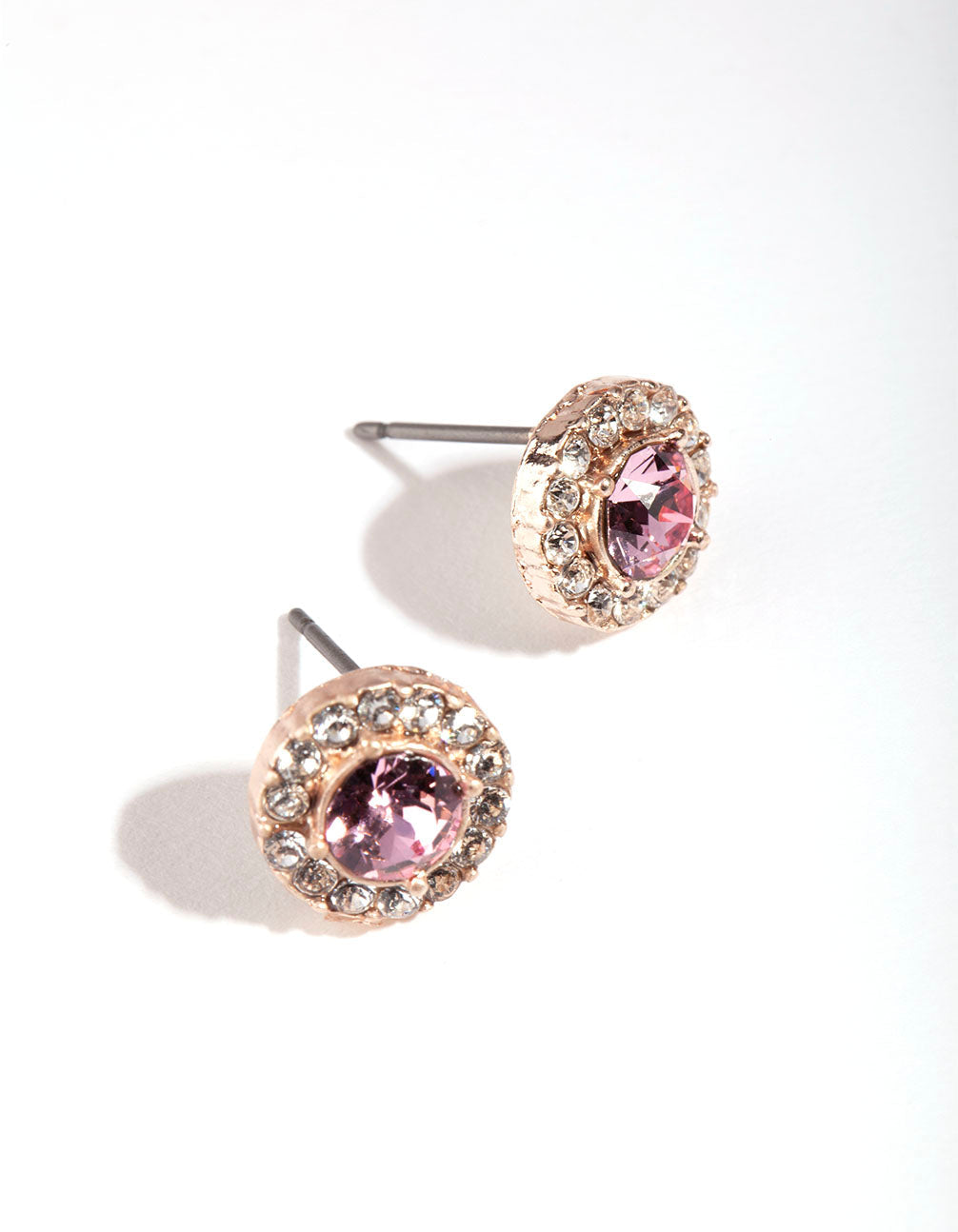 Silver Diamond Simulant Pink Halo Stud Earrings