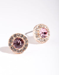 Silver Diamond Simulant Pink Halo Stud Earrings - link has visual effect only