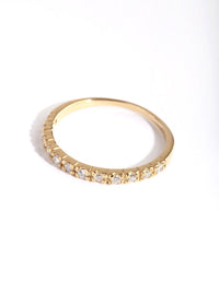 Gold Plated Sterling Silver Pave Diamante Ring - link has visual effect only