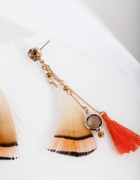 Gold Feather Tassel Drop Earring - link has visual effect only