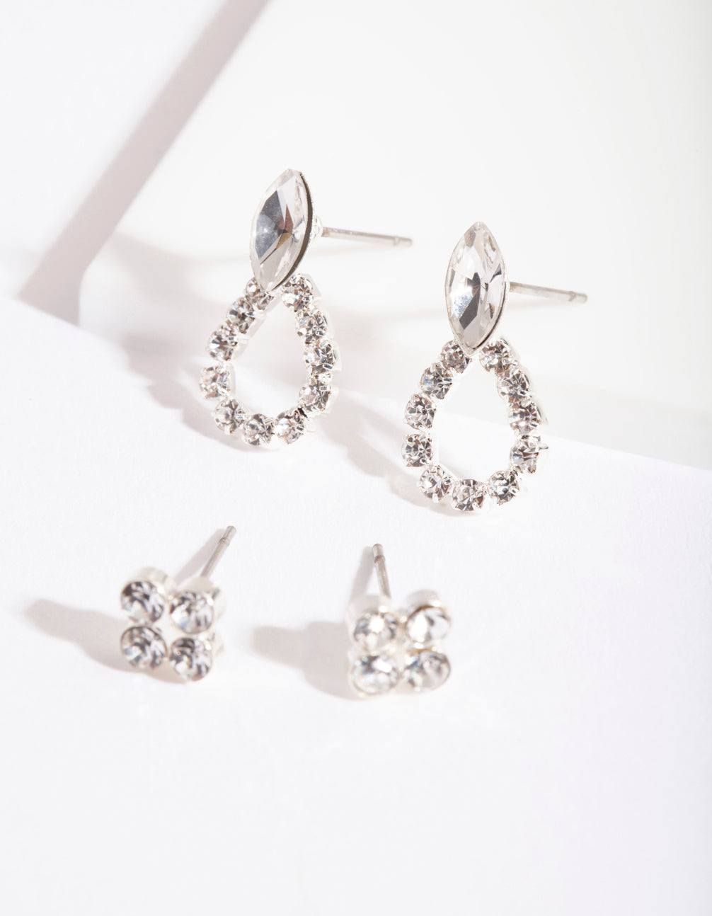 Silver Diamante Door Knocker Earring 2 Pack