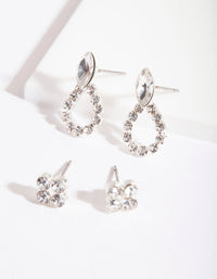 Silver Diamante Door Knocker Earring 2 Pack - link has visual effect only