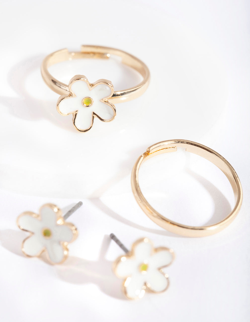 Gold Daisy Flower Earring Ring Pack