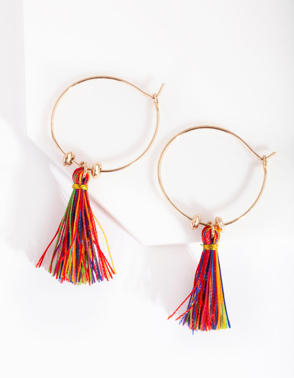 Gold Multicoloured Tassel Earring