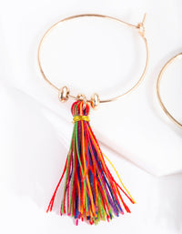 Gold Multicoloured Tassel Earring - link has visual effect only