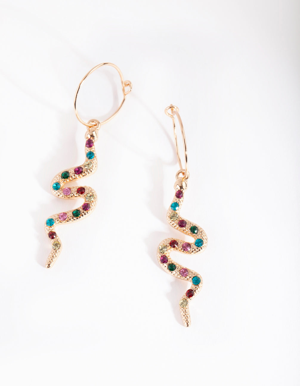 Gold Multi Diamante Snake Drop Earring