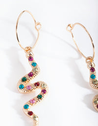 Gold Multi Diamante Snake Drop Earring - link has visual effect only