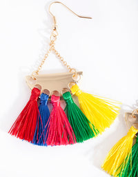 Gold Multicoloured Tassel Drop Earring - link has visual effect only