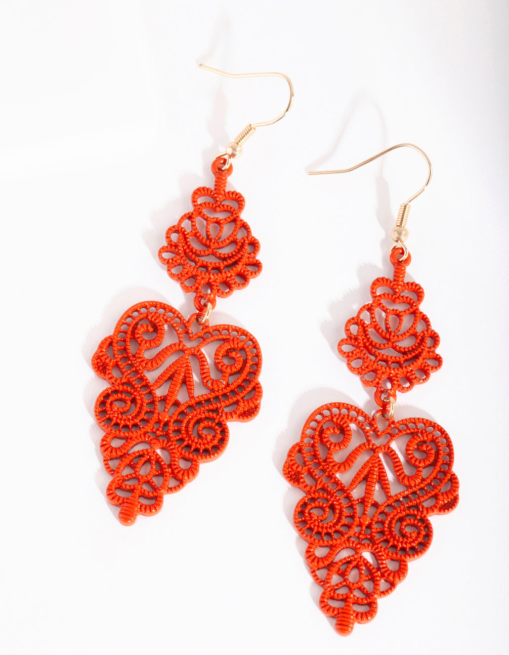 Rust Large Filigree Drop Earring