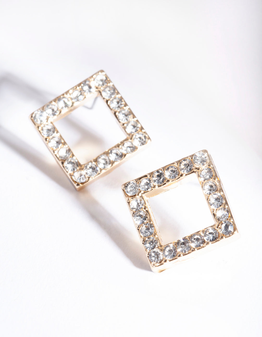 Gold Diamante Square Stud Earring