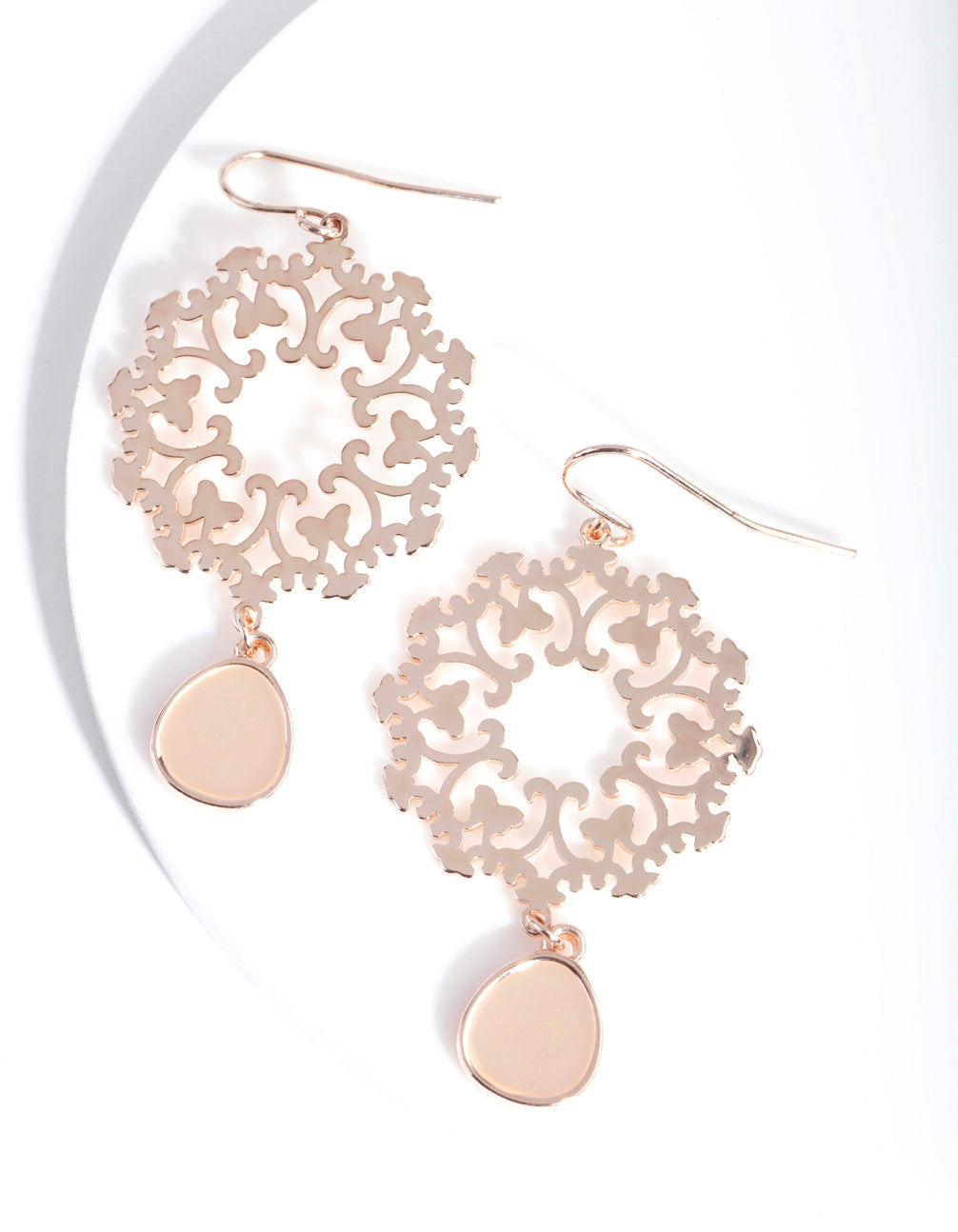 Rose Gold Filigree Teardrop Earring