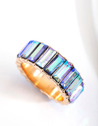 Gold Aurora Borealis Baguette Band Ring - link has visual effect only