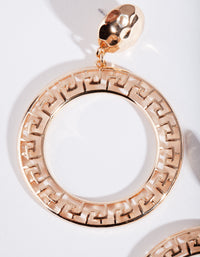 Gold Grecian Circle Drop Earring - link has visual effect only