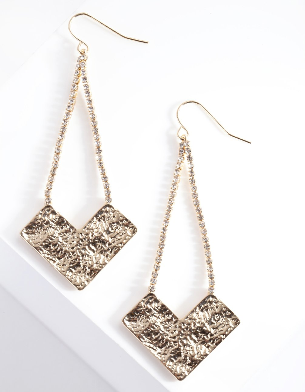 Gold Textured Diamante Earring