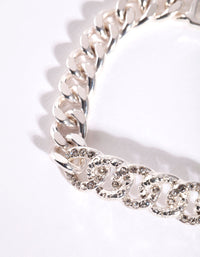 Silver Pave Diamante Chain Bracelet - link has visual effect only