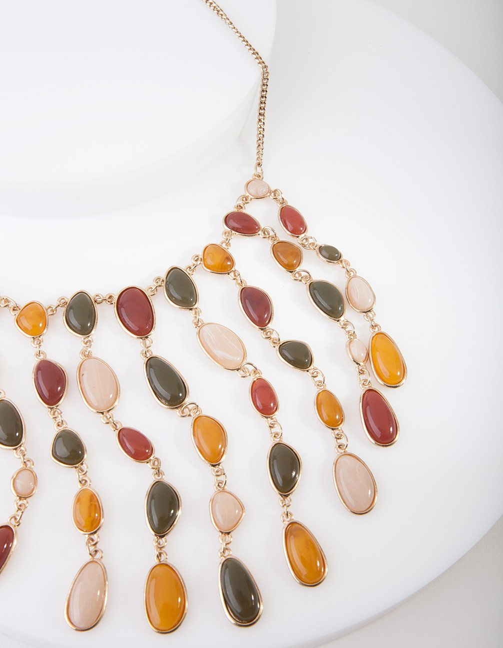 Gold Cascading Stone Necklace