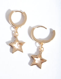 Gold Star Diamante Huggie Earring - link has visual effect only