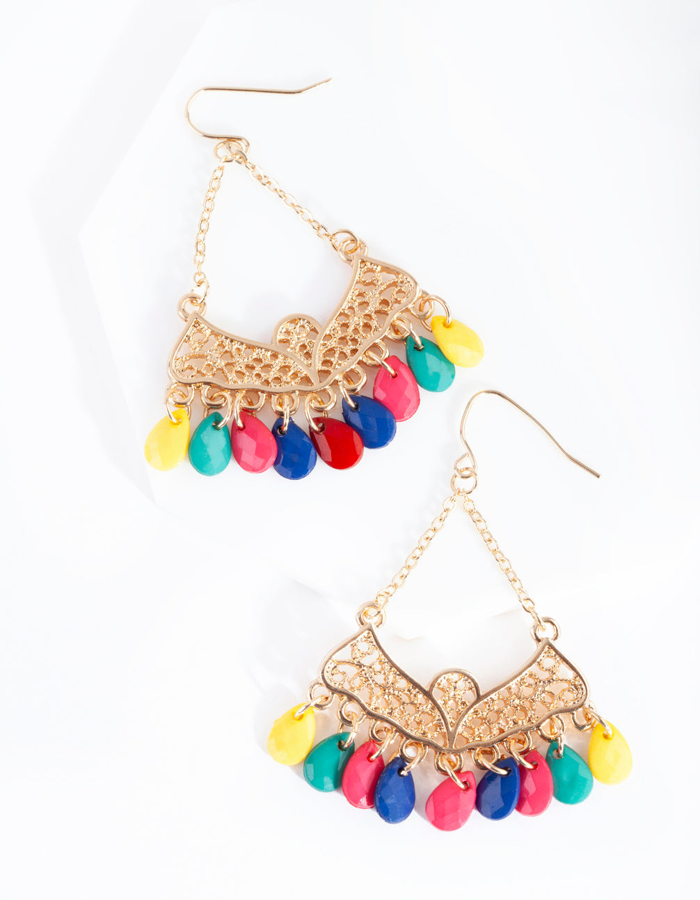 Gold Bohemian Multi Bead Drop Earring