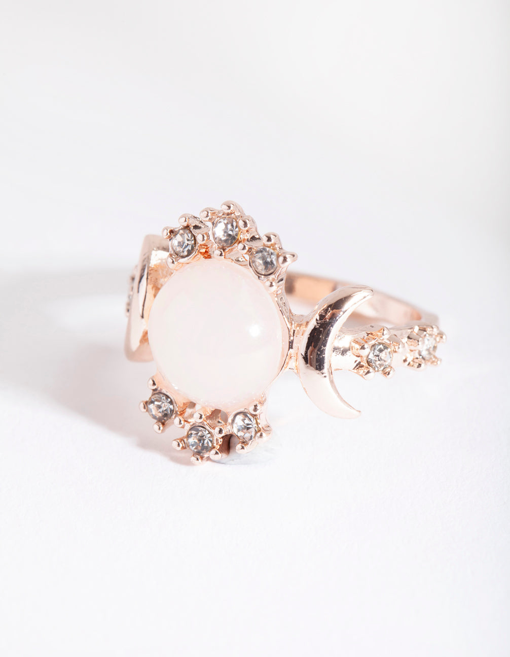Rose Gold Vanilla Synthetic Opal Moon Diamante Ring