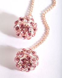 Rose Gold Diamante Drop Ball Stud Earring - link has visual effect only