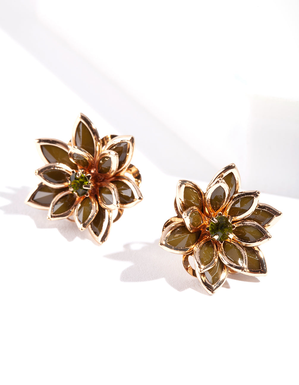 Khaki Crystal Flower Earrings