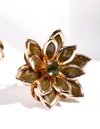 Khaki Crystal Flower Earrings - link has visual effect only
