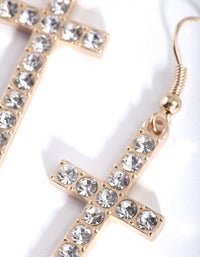 Gold Diamante Cross Earring - link has visual effect only