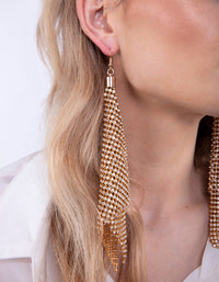 Gold Extra Large Diamante Mesh Drop Earring - link has visual effect only