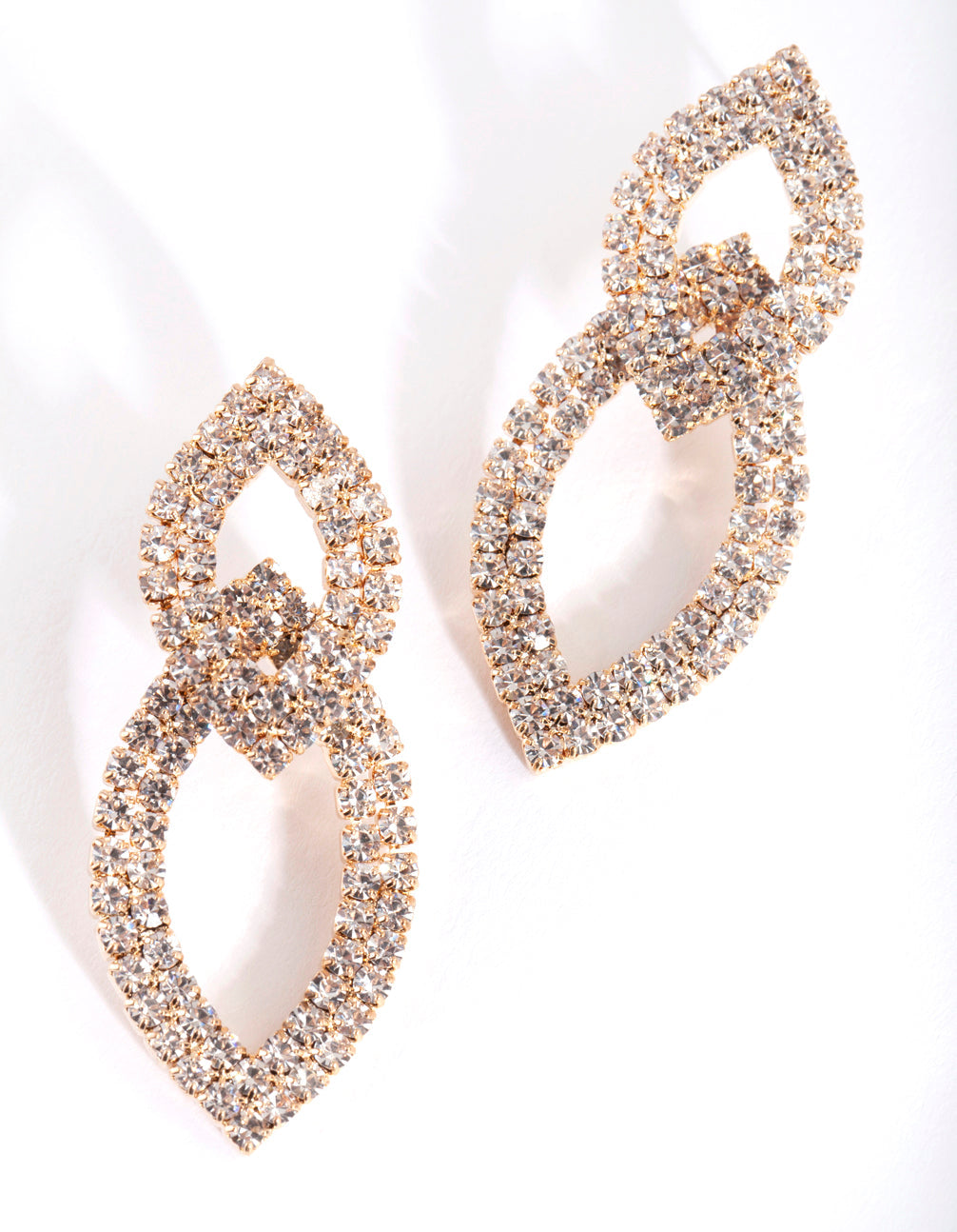 Gold Cupchain Double Leaf Earring