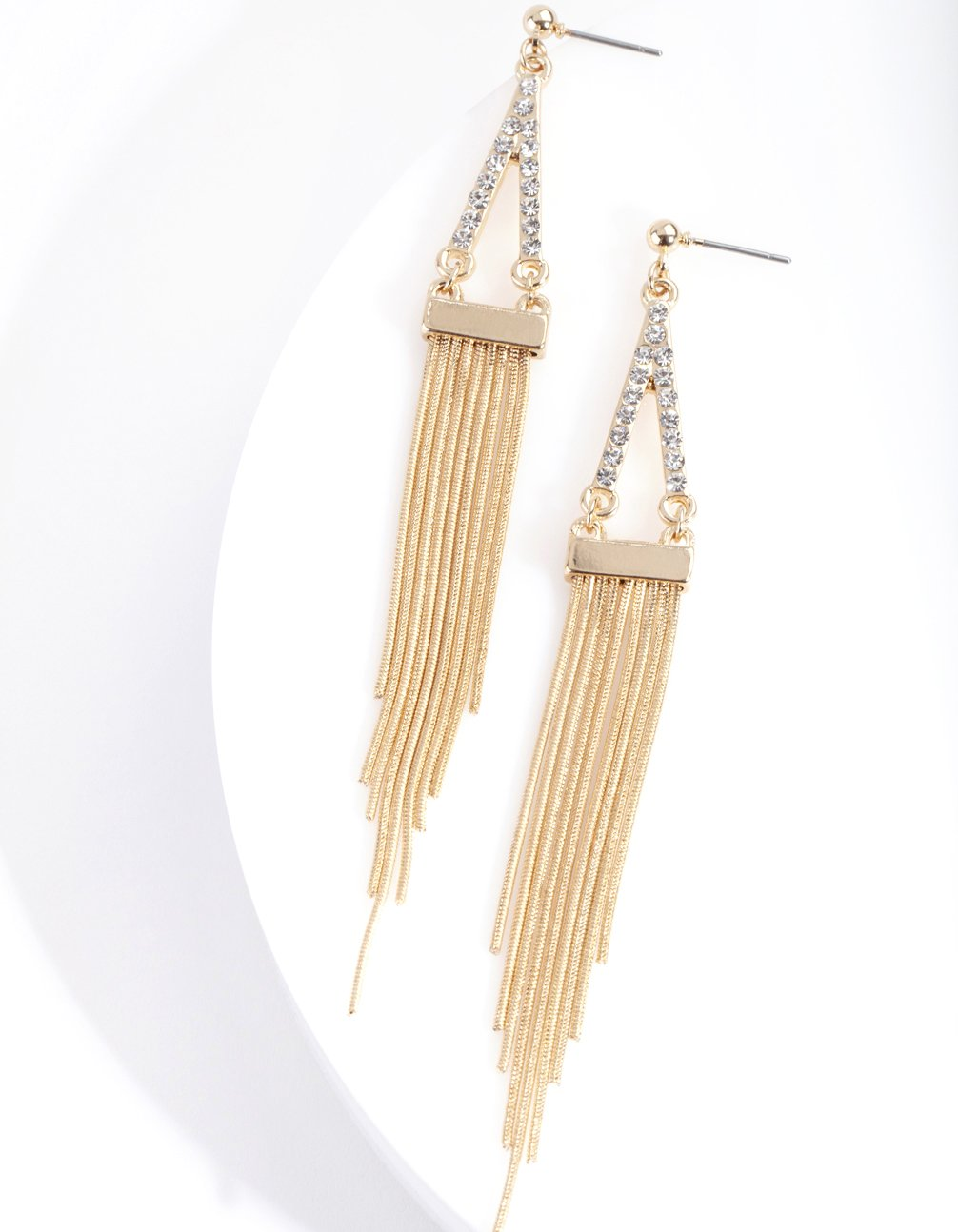 Gold Diamante Point and Tassel Earring