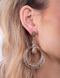Gold Eteched Ball Disc Earring - link has visual effect only