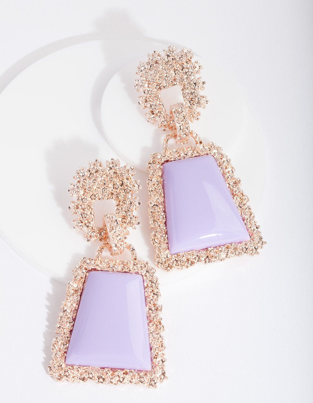 Lilac Trapeze Dome Drop Earring
