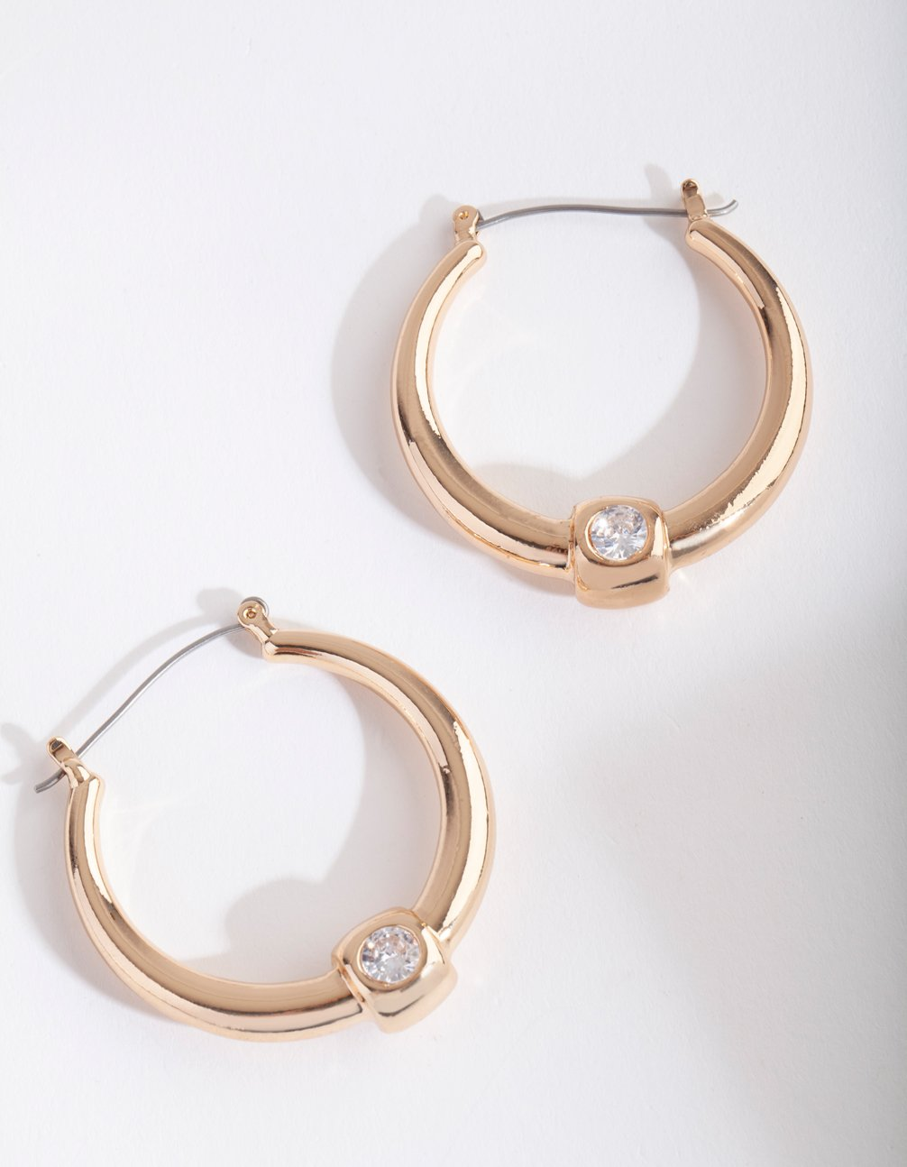 Gold Chunky Deco Diamante Hoop Earring