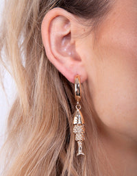 Gold Fish Drop Hoop Earring - link has visual effect only